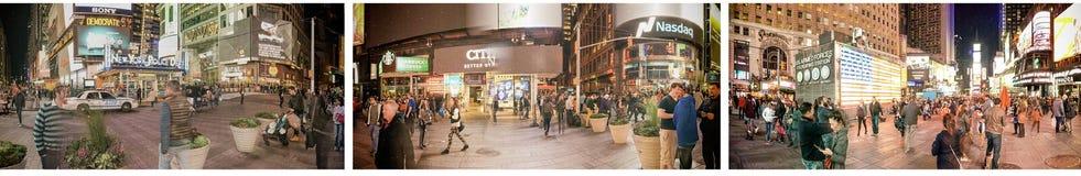 纽约- 2015年10月:游人在时代广场在晚上 库存照片