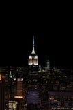纽约- 2015年6月13日:纽约都市风景在从Rockfeller中心的晚上 库存照片