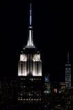 纽约- 2015年6月13日:纽约都市风景在从Rockfeller中心的晚上 免版税库存图片