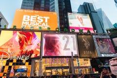 纽约- 2013年12月22日:12月22日的时代广场在美国 免版税库存图片
