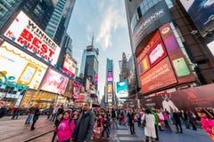 纽约- 2013年12月22日:12月22日的时代广场在美国 库存照片