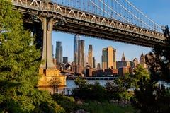 纽约/美国- 2018年6月25日:在su降低曼哈顿地平线 库存照片