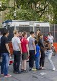 纽约-美国2016年9月12日-街道艺术家在Ma执行 免版税库存图片