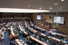 纽约-美国- 6月11日2015代表谈论在联合国 免版税库存照片