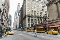 纽约-美国- 25 05 2014 - 纽约出租汽车街道美国大苹果计算机地平线 免版税库存图片