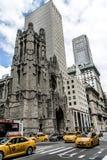 纽约-美国- 25 05 2014 - 纽约出租汽车街道美国大苹果计算机教会地平线 库存照片