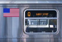 纽约Q火车细节,为时中止 免版税图库摄影