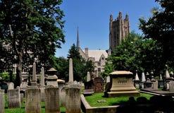纽黑文, CT :树丛街道公墓 免版税库存照片