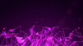 线、多角形和微粒网络在屏幕下半  库存照片