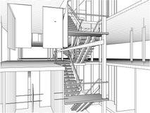 线传染媒介的抽象建筑 库存图片