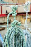 线卷在渔船的 图库摄影