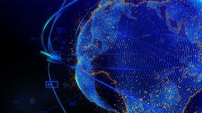 线和小点的动画在形成行星地球的网际空间 皇族释放例证