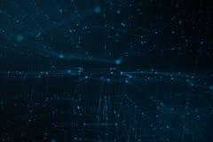 线和小点,低多滤网抽象背景  互联网连接技术 神经系统的连接的概念 免版税库存图片