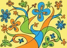 线和花的彩色插图 免版税图库摄影