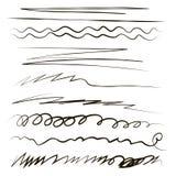 线在白色背景隔绝的波浪打破的之字形乱画用手贷方笔笔传染媒介 库存例证