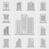 线大厦象传染媒介集合 免版税库存图片