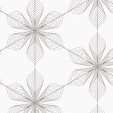线性传染媒介样式,重复抽象叶子,叶子灰色线或花,花卉 图表清洗织品的设计 免版税库存图片