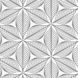 线性传染媒介样式,重复抽象叶子,叶子灰色线或花,花卉 图表清洗织品的设计 库存图片