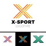 线性信件x商标组合图案 简单的体育略写法标志 三橙色和黄色种族分界线、黑概述和梯度样式 向量例证