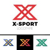 线性信件x商标组合图案 简单的体育略写法标志 与阴影、黑概述和桔子梯度的红颜色 向量例证