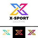 线性信件x商标组合图案 简单的体育略写法标志 五颜六色的样式、黑概述和桔子梯度 库存例证