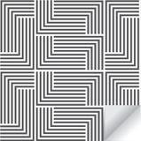 线性几何传染媒介样式,重复条纹被排行的正方形线和马赛克  时髦的黑白照片 免版税库存照片