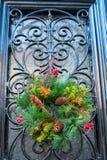 a4线性基本的圣诞节门的梯度没有比例透明度使用了花圈 库存图片