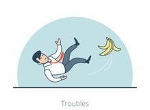 线性平的人滑倒了香蕉果皮传染媒介麻烦 向量例证