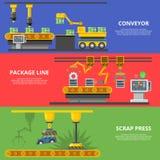线性平的制造传动机包裹线 库存例证