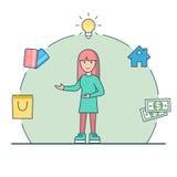 线性平的妇女光源金钱信用卡ve 免版税库存照片