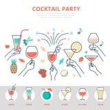 线性平的庆祝酒精饮料鸡尾酒pa 向量例证