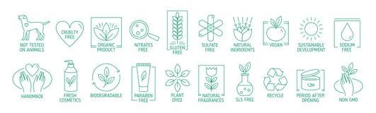 线性标志或徽章的汇集自然eco友好的手工制造产品的,有机化妆用品,素食主义者和 皇族释放例证