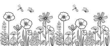 线性花卉样式 免版税图库摄影