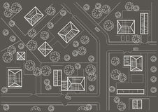 线性建筑村庄剪影总图灰色背景的 库存图片