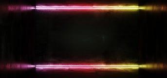 线框架科学幻想小说霓虹发光的外籍人太空飞船黑暗的反射性光滑的充满活力的橙色蓝色彩虹室霍尔走廊阶段隧道 皇族释放例证