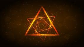 线橙色霓虹三角,呼吸运动记录器 抽象黑暗的背景 r 皇族释放例证