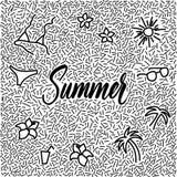 线艺术手拉的乱画与现代书法词夏天! 库存图片