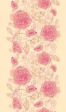 线艺术玫瑰垂直的无缝的样式 免版税图库摄影