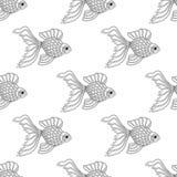 线艺术金鱼的传染媒介无缝的样式 不尽的背景 库存图片
