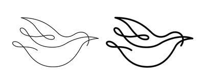 线艺术鸟形状 免版税库存照片