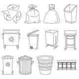 线艺术黑白垃圾元素收藏 向量例证