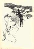 线艺术-赤裸妇女艺术  库存图片