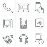 线象样式传染媒介黑色电话 免版税库存图片