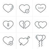 线象样式被设置的心脏象 免版税库存照片