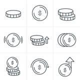 线象样式被设置的硬币象 库存照片