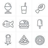 线象样式被设置的食物象 免版税库存图片
