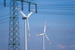 线路传输涡轮风 免版税库存图片