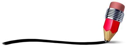 线路铅笔红色冲程文字 库存照片