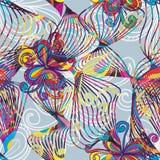 线跳舞花五颜六色的无缝的样式 免版税库存图片