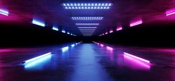 线霓虹萤光道路轨道发光的科学幻想小说紫色蓝色未来派具体空的难看的东西反射性室充满活力的光谱 皇族释放例证